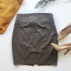 Express Taupe Pencil Skirt Buckle Detail Size 4